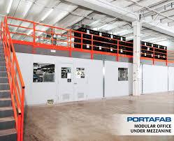 warehouse mezzanine modular office. Modular Office Under Mezzanine - PortaFab Building Systems Warehouse