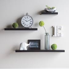 furniture three black wooden floating wall shelves for black wooden picture frames and round clock