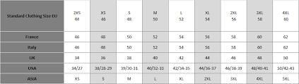 Kjus Skiwear Sizing Chart