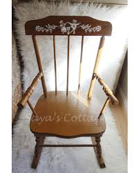 wooden rocking chair. vintage 1960s childs / children wooden wood rocking chair rocker musical chairs