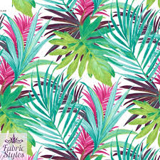flower tropical palm print on high quality jersey scuba fabric green white green