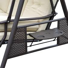 outdoor metal chair. Outsunny 3 Seater Swing Chair Outdoor Metal Bench Garden Hammock Canopy Lounger R