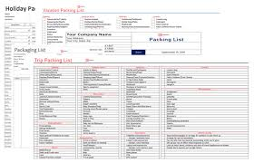 Vacation Packing Checklist Pdf Packing List Template For Excel And Word Holiday Travel