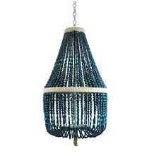 great blue beaded chandelier and white wood bead chandelier