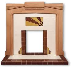 this art deco fireplace has a design that has been faithfully copied from an original tiled