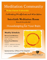 busy week ahead parents families meditation at wfu flyer
