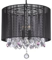 crystal chandelier with large black shades and pink crystal hearts