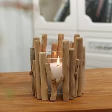 wooden candle holder with glass cup tea light holder candlestick