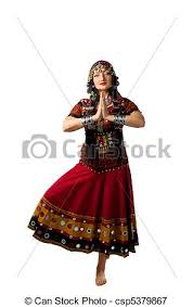 woman stand in yoga pose indian costume csp5379867