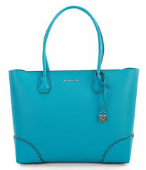 michael kors studio mercer gallery large leather tote tile blue 30s8sz5t9t