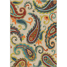 orian rugs wyndham multi paisley 8 ft x 11 ft indoor outdoor area rug 355642 the home depot