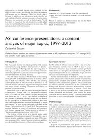 asi conference presentations a content analysis of major topics asi conference presentations a content analysis of major topics 1997 2012