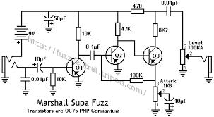 fuzz central colorsound tonebender mkii marshall supa fuzz schematic