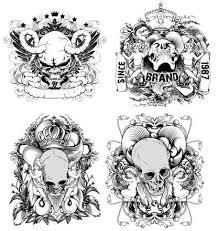 無料の手描きの線のドラフト悪魔と天使 ベクター素材イラスト頭蓋冠の