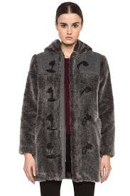 image 1 of a p c faux fur duffel coat in grey