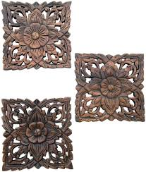 set of small square wood plaques fl lotus x stunning carved wood wall art