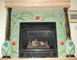 mosaic tile fireplace. Fine Tile Iridescent Glass Tiles Are The Ideal Design Choice For Any Space Dominated  By Light Tiling A Fireplace Hearth Is Obvious From Both And  On Mosaic Tile Fireplace