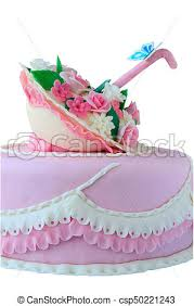Pink Birthday Wedding Cake With Flowers And Butterfly Isolated Over