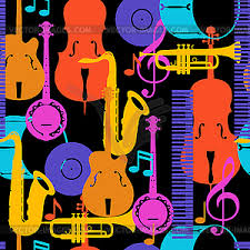 Free free jazz sheet music (all instruments) sheet music pieces to download from 8notes.com Jazz Music Seamless Pattern With Musical Instruments Vector Clipart