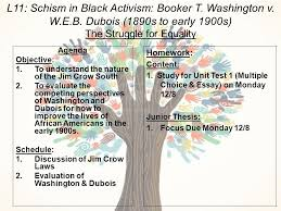 l schism in black activism booker t washington v w e b  1 l11
