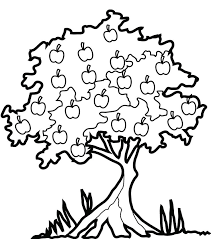 apple tree clipart black and white. apple tree many fruit coloring page | clipart library black and white t