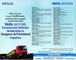 tata motors mercial vehicles gurgaon and faridabad jobs