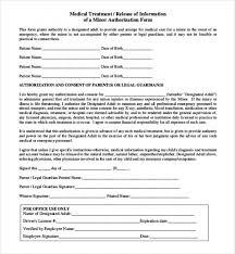 Medical Release Form For Child Enchanting Download 48 Sample Child Medical Consent Forms Document Management