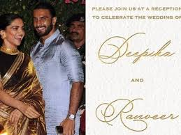 wedding reception card did you check out deepika padukone and ranveer singhs wedding