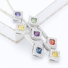 claire rainbow sapphire diamond pendant in 18k gold spectrum collection