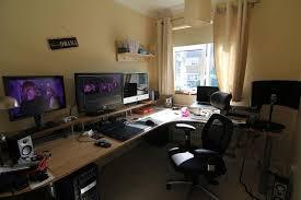 interesting home office desks design black wood. Fine Home Gaming Desk Setup Ideas Home Office Ideas In Interesting Home Office Desks Design Black Wood