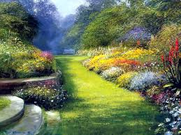 Mon Jardin Fleuri Peinture Beau Jardin Peintre Inconnu