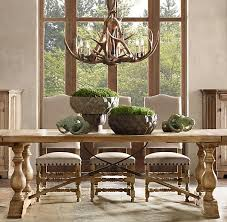 farm table bowls with evergreen antler chandelier find this pin and more on dining chairs