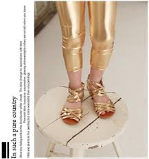 whole hot gold girls leggings children clothing fluorescent color skinny kids leather pants bright elastic trousers
