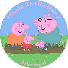 Peppa Pig Birthday Cake Edible Printed Round Birthday Cake Topper Decoration