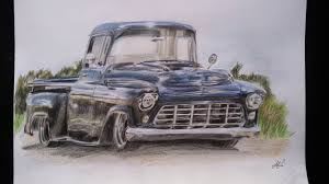 Drawing a '57 Chevy 3100 - YouTube