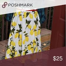 Skirt Only No Belt A Line Lemon Print Measurements Laying
