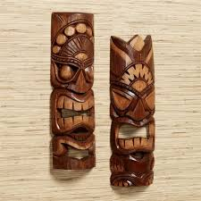 tiki warrior mask wall art set brown set of two on tiki mask wall art with tiki warrior wood mask wall art set