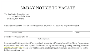 notice of intent to vacate template 30 day letter apartment sle