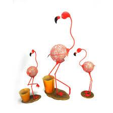 2018 outdoor decor red flamingo artwork metal garden animal ornament