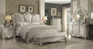 full size bedroom sets white. Acme Versailles 4-Piece Upholstered Bedroom Set In Ivory Velvet/Bone White Full Size Sets I