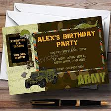 Personalised Birthday Invitations For Kids Childrenss Kids Party Invites Army Soldier Camouflage Personalised