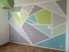 geometric wall paintGeometric painted wall  grey silver powder blue apple green
