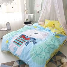 light blue aqua red and white bear print pretty funky style hipster animal themed 100 cotton twin full size bedding sets for kids