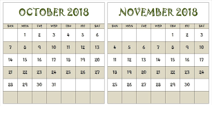Schedule To Print October November 2018 Cute Calendar To Print October 2018 Calendar