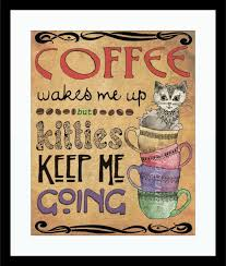 decorating cute kitten and coffee wall art for glamorous kitchen decor diy coffee kitchen