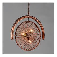 industrial chandelier ceiling fan light kits electric in fan shaped novel in retro rust