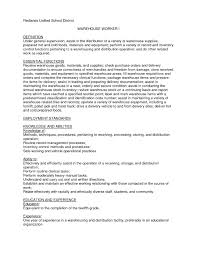 Resume Cover Letter Warehouse Job Professional Resumes Example