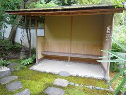 The simple interior of a machiai, or waiting arbor, at the top of the