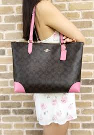 Coach F29208 Top Zip City Tote Signature Canvas Handbag Brown Pink   Handbags  GabysBags