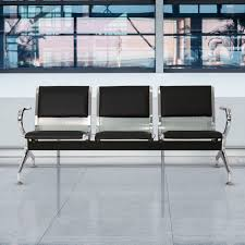 3-Seat PU Leather Airport Reception Waiting Chair Room Garden Salon Barber  Bench